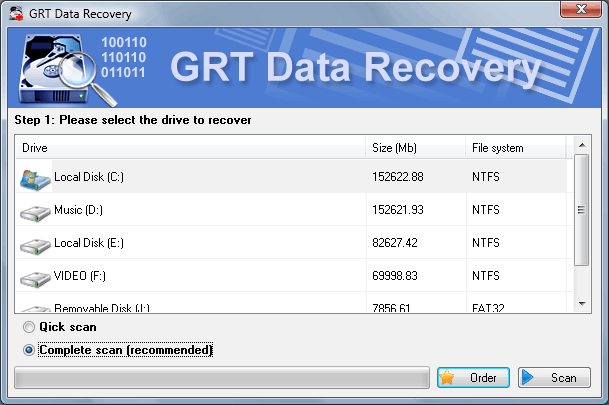 Click to view GRT NTFS Recover 2.6 screenshot