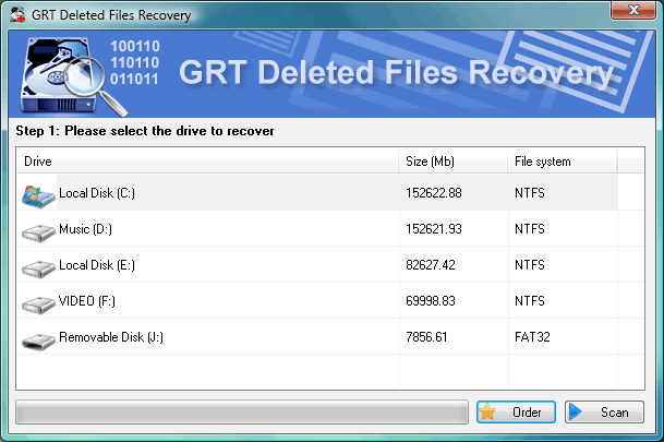 Click to view GRT NTFS Undelete 2.6 screenshot