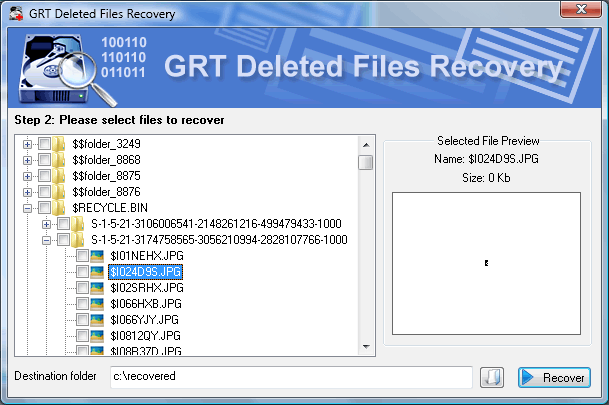 Data Recovery Software tool recover data from hard disk: GRT Recover